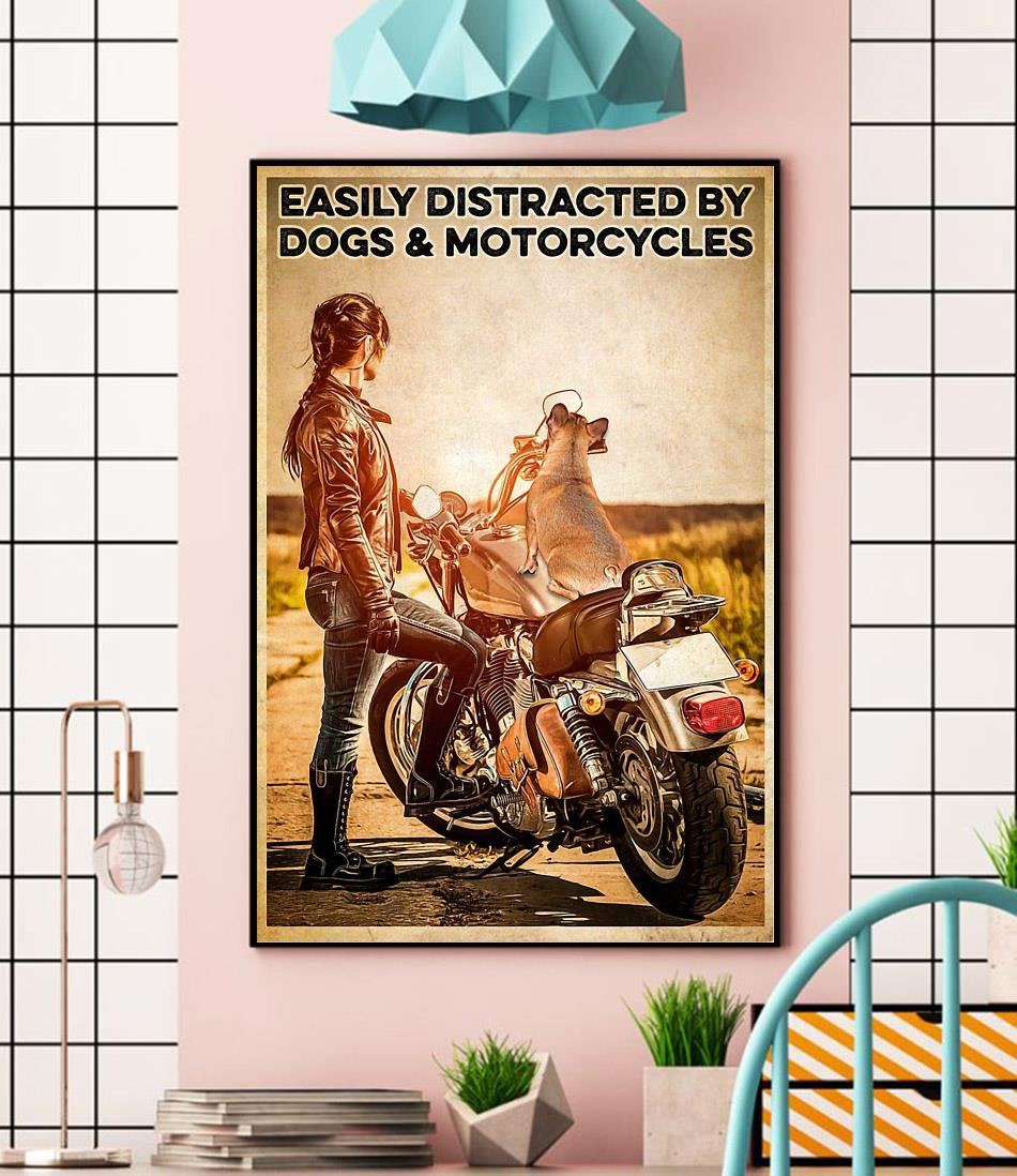 Biker easily distracted by dogs and motorcycles poster canvas wall