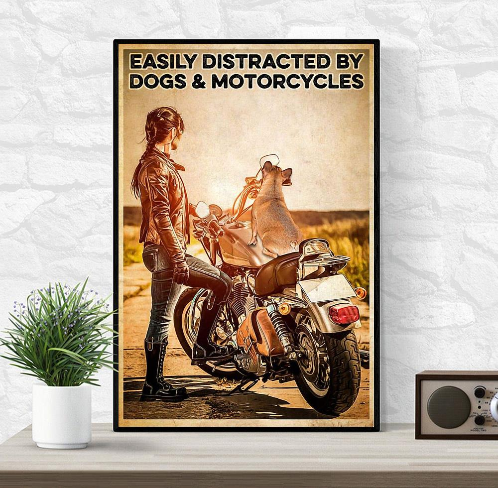 Biker easily distracted by dogs and motorcycles poster canvas wrapped