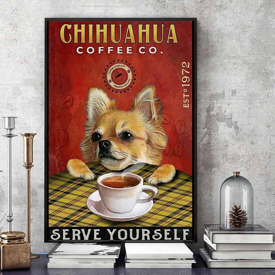 Chihuahua Coffee company est 1972 poster canvas