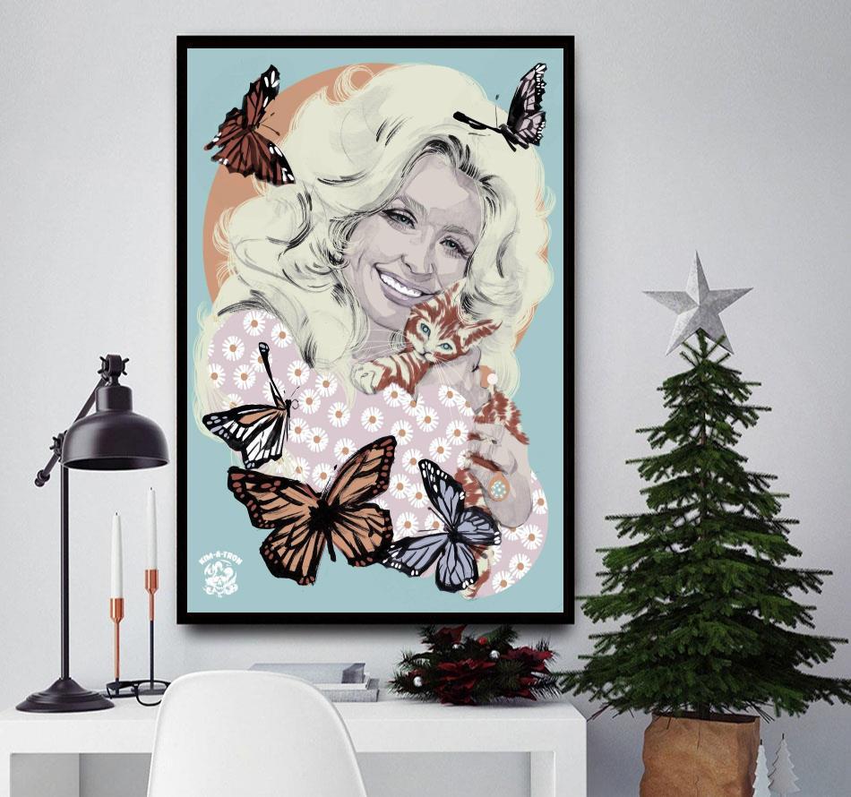 Dolly Parton Butterflies vertical poster