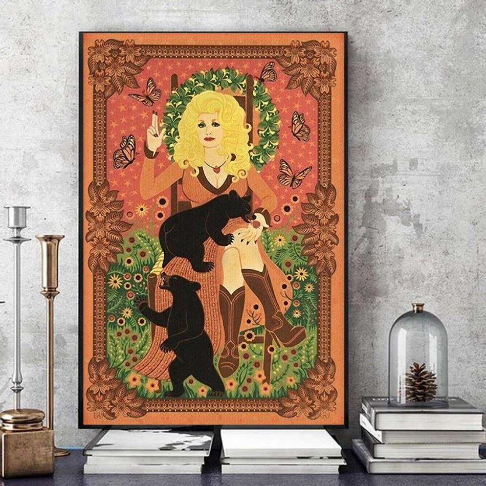 Dolly Parton with Bears and Butterflies poster art