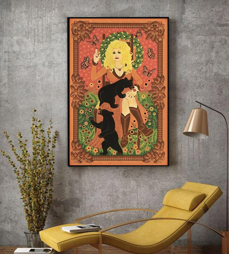 Dolly Parton with Bears and Butterflies poster decor