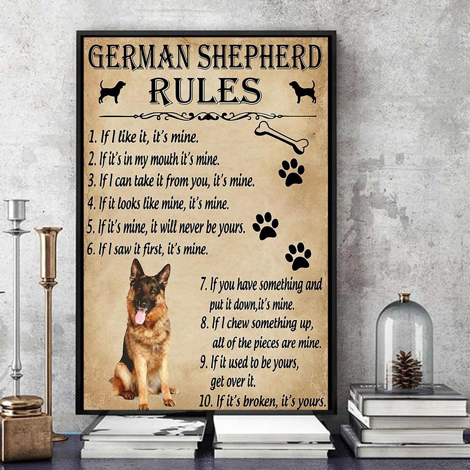 German Shepherd rules poster canvas