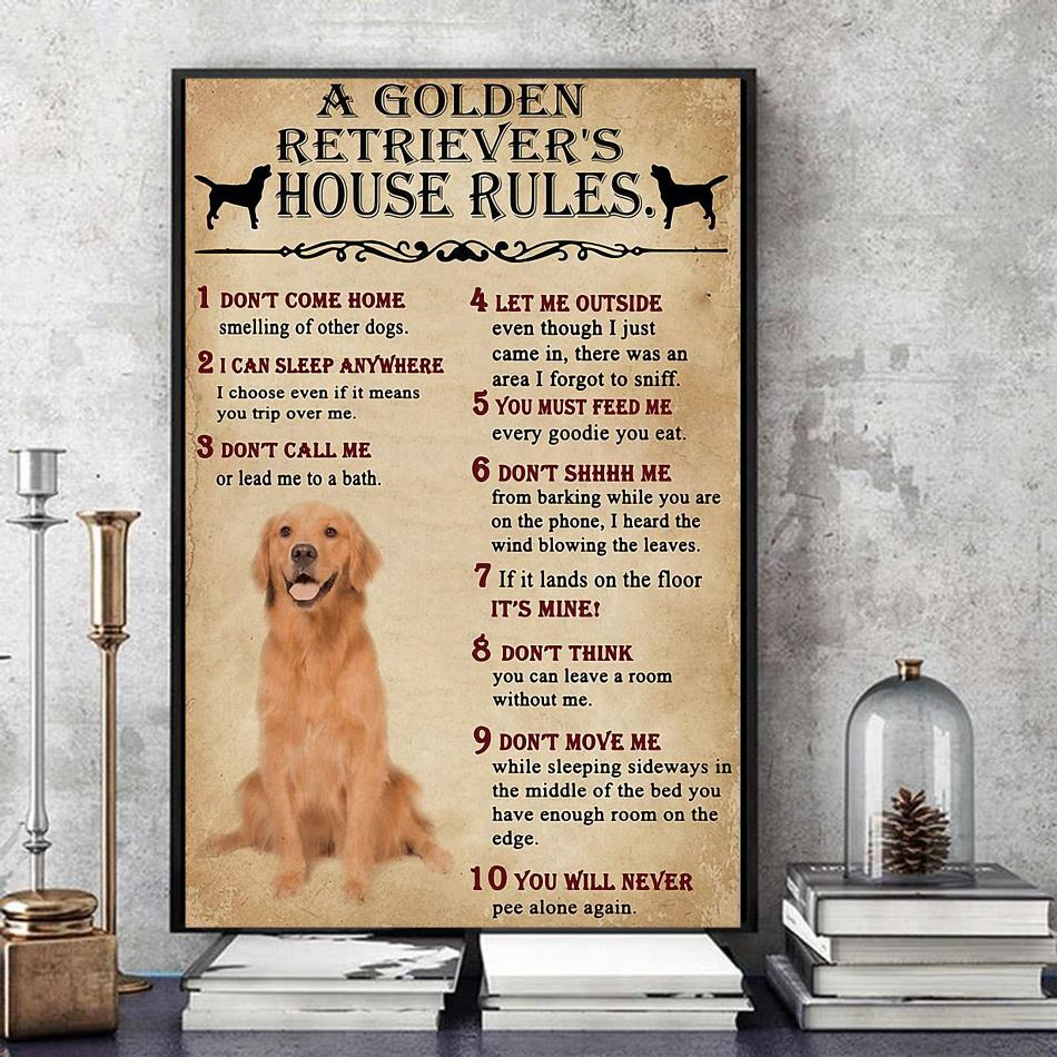 Golden Retriever house rules poster canvas
