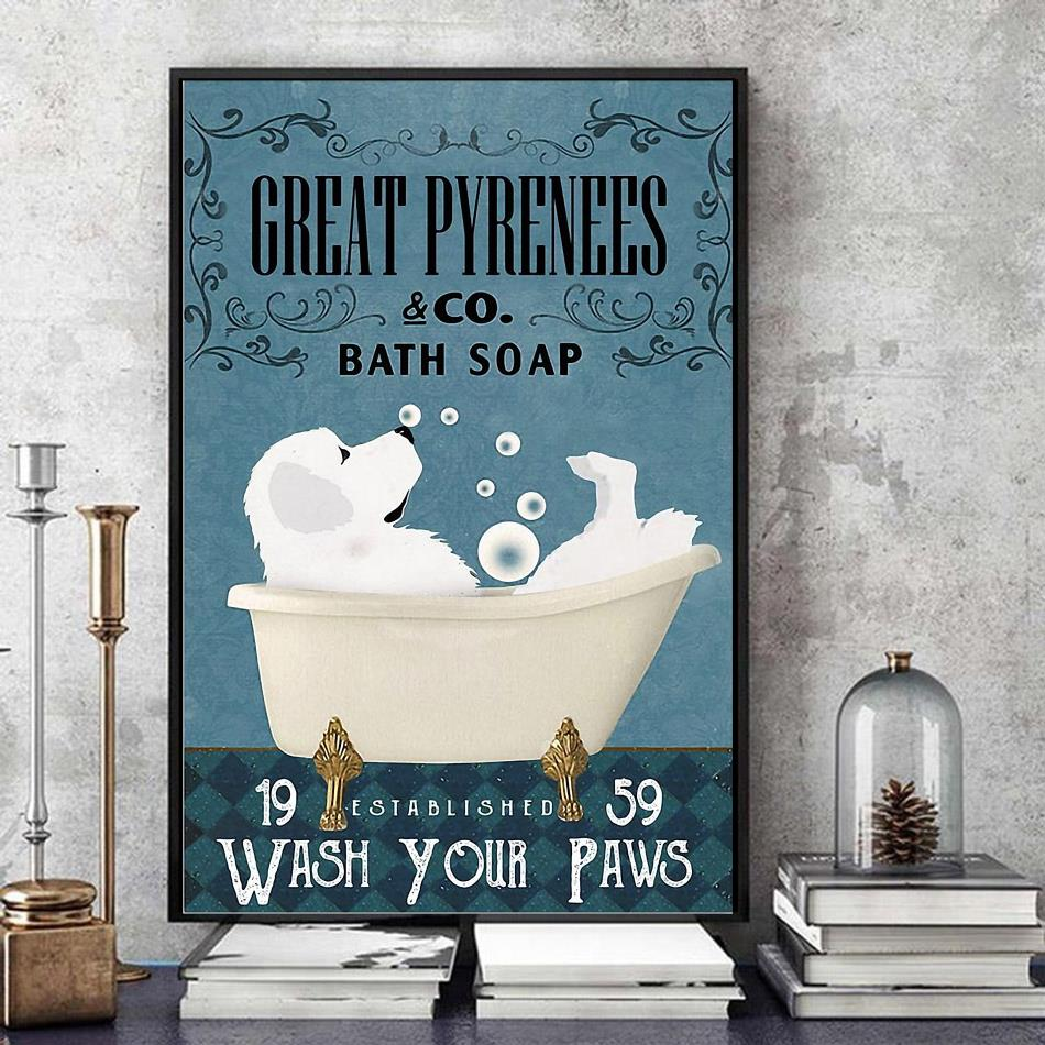 Great Pyrenees bath soap wash your paws wrapped canvas