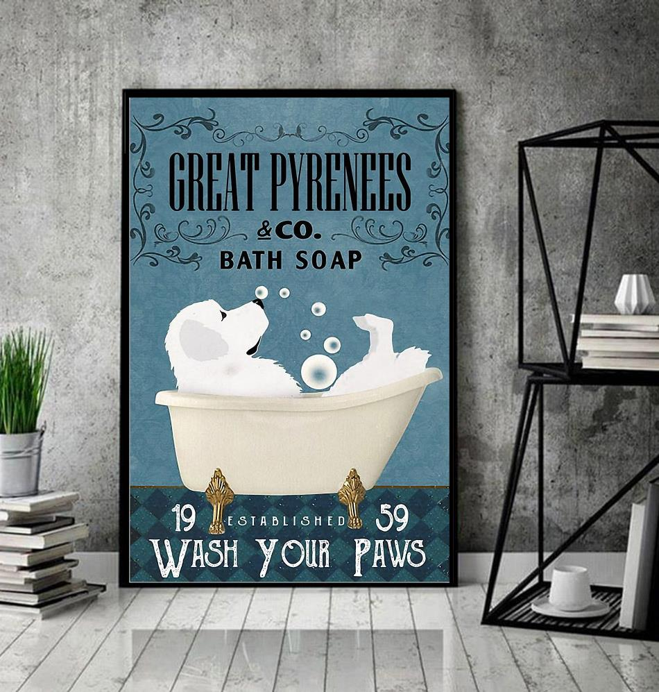 Great Pyrenees bath soap wash your paws wrapped canvas decor