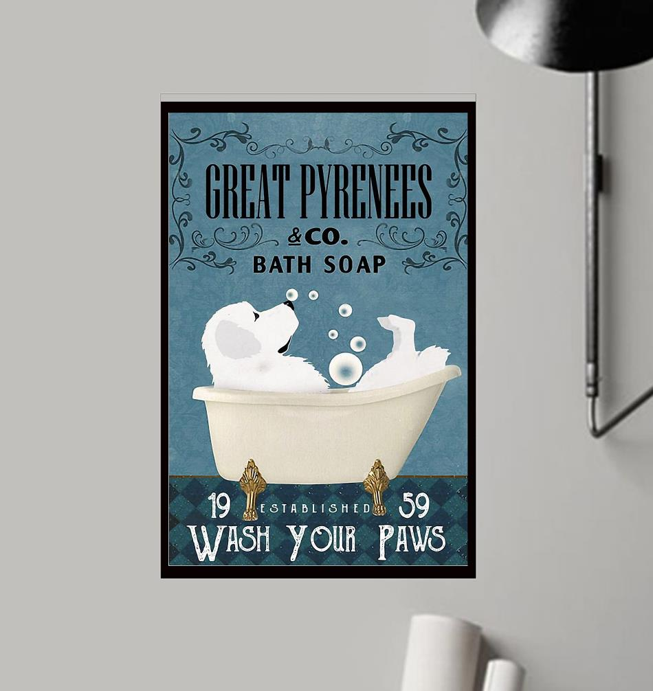 Great Pyrenees bath soap wash your paws wrapped canvas frame