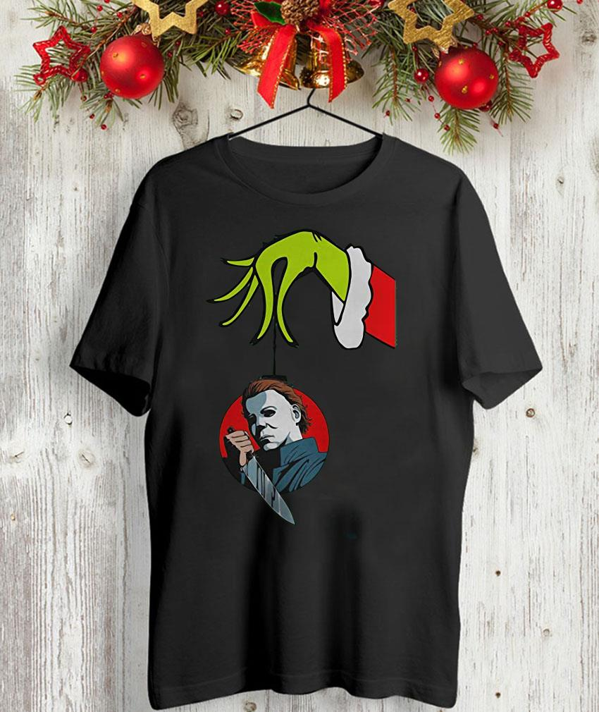 Grinch hand holding Ornament Michael Myers ornament Grinch hand holding Ornament Michael Myers ornament t-shirt