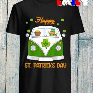 Hippie Car Leprechaun gold pot funny St Patricks Day