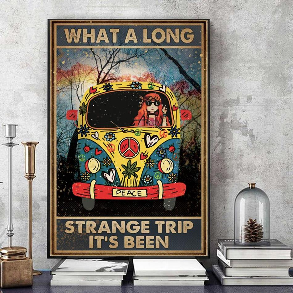 Hippie girl what a long strange trip it's been canvas art