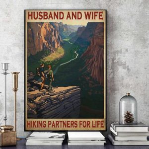 Husband and wife hiking partners for life poster art