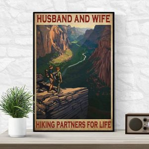 Husband and wife hiking partners for life poster