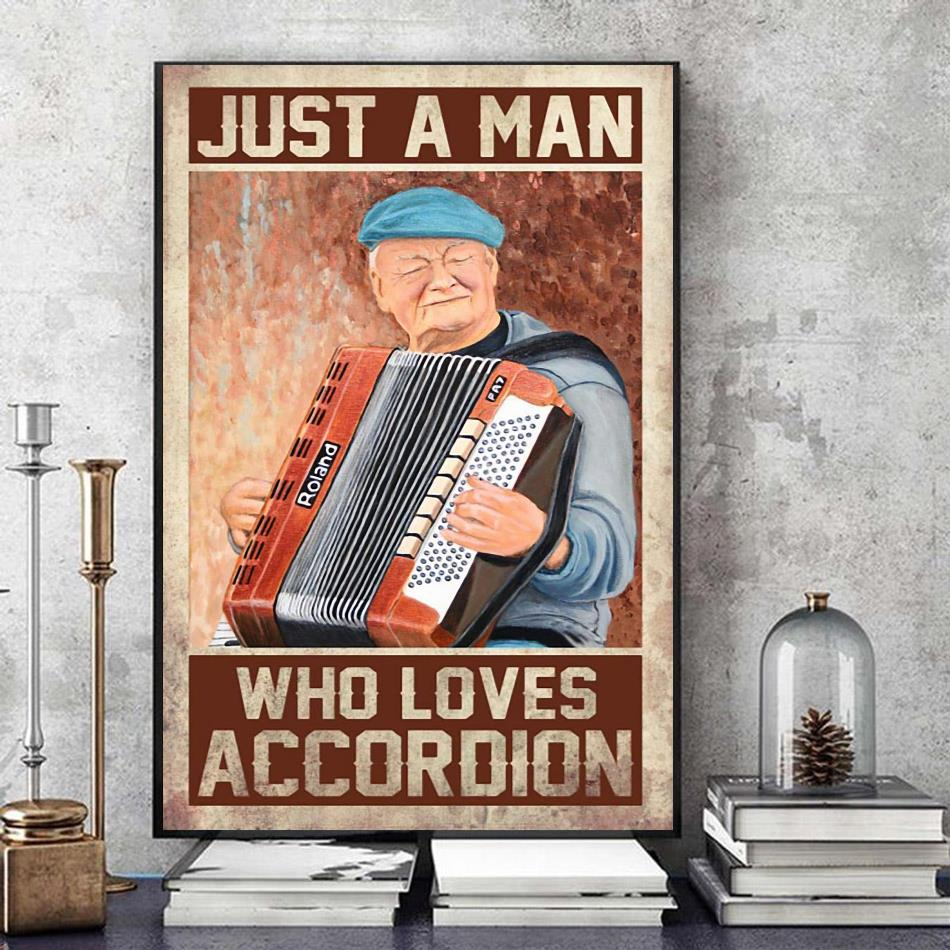 Just a man who loves accordion vertical canvas art