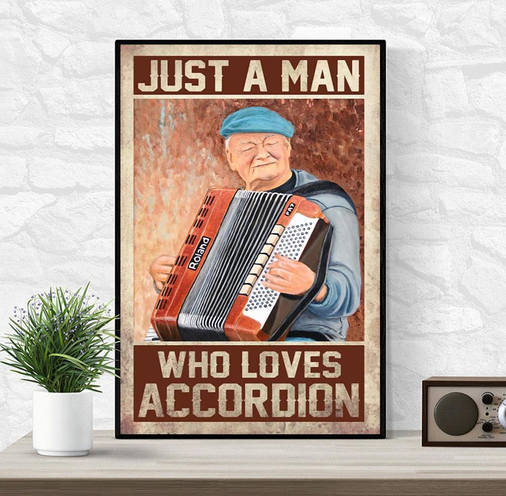Just a man who loves accordion vertical canvas