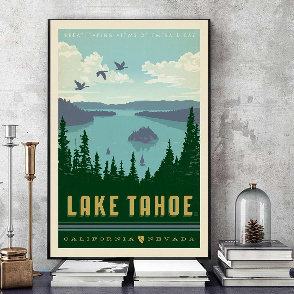 Lake Tahoe California vintage poster canvas art