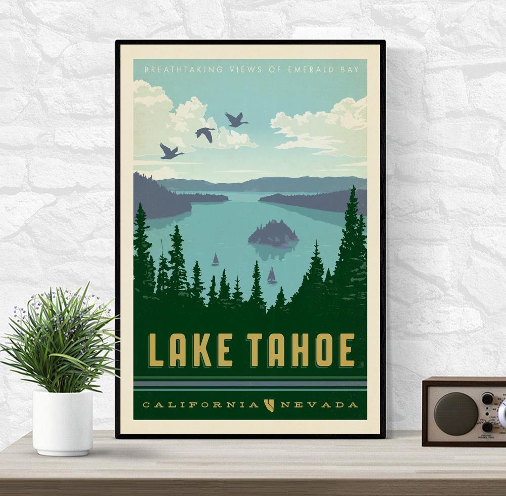 Lake Tahoe California vintage poster canvas