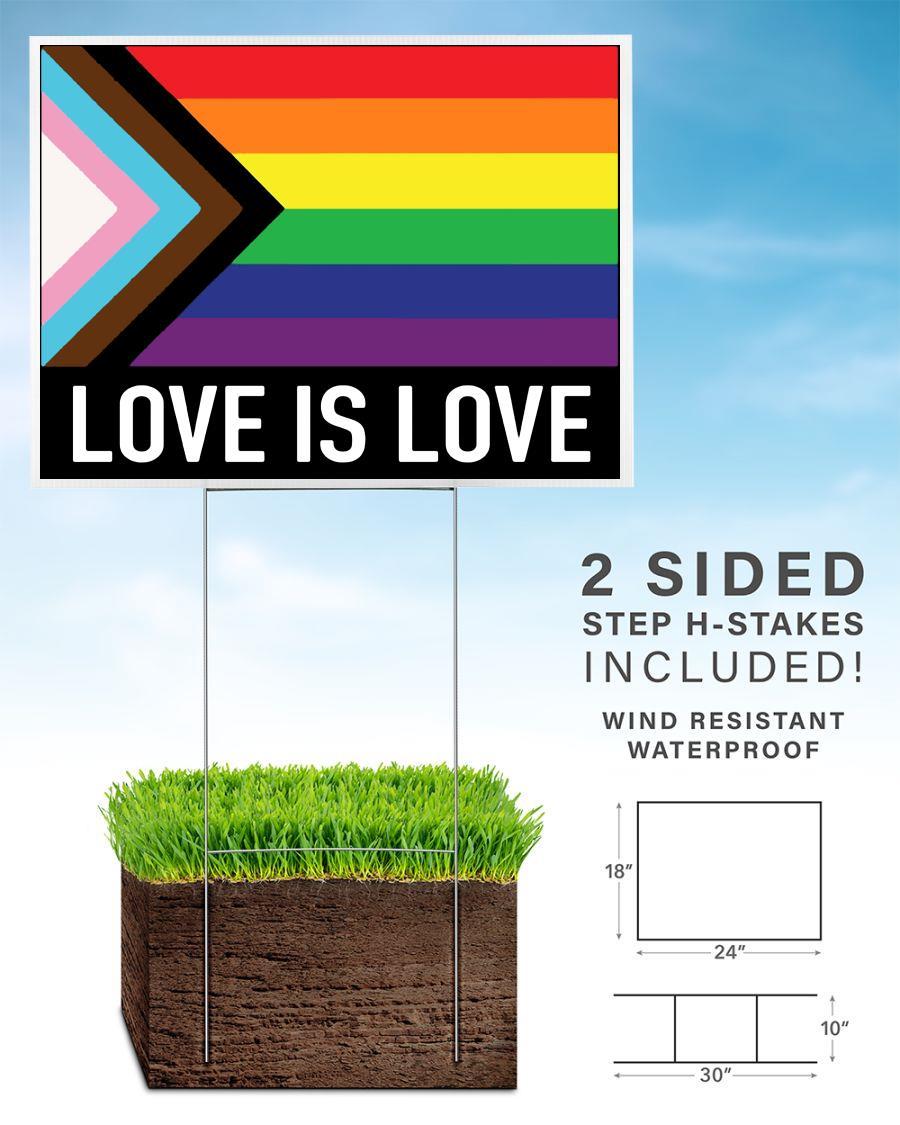 Love is love rainbow yard sign