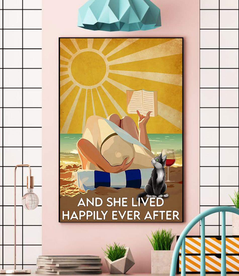 Ocean wine happily ever after poster canvas