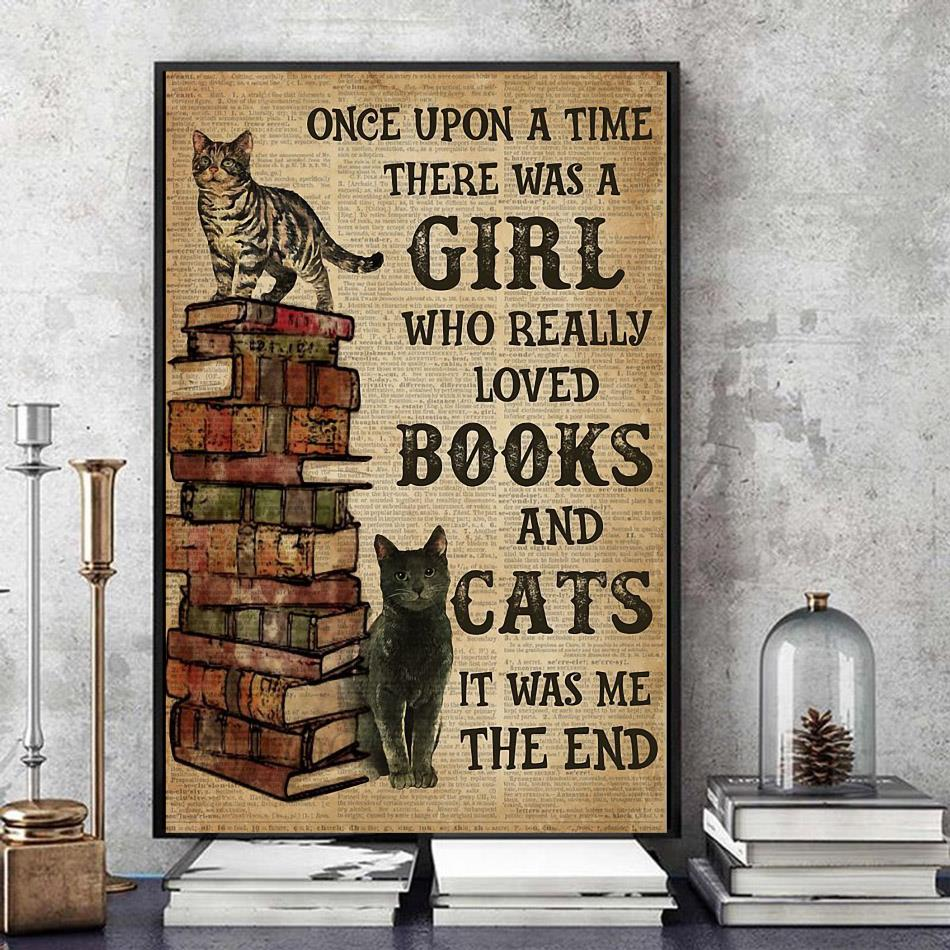 Once upon a time there was a Girl who really loved books and cats wrapped canvas
