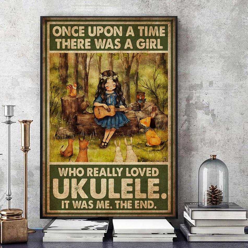 Once upon a time there was a girl who really loved ukulele poster art