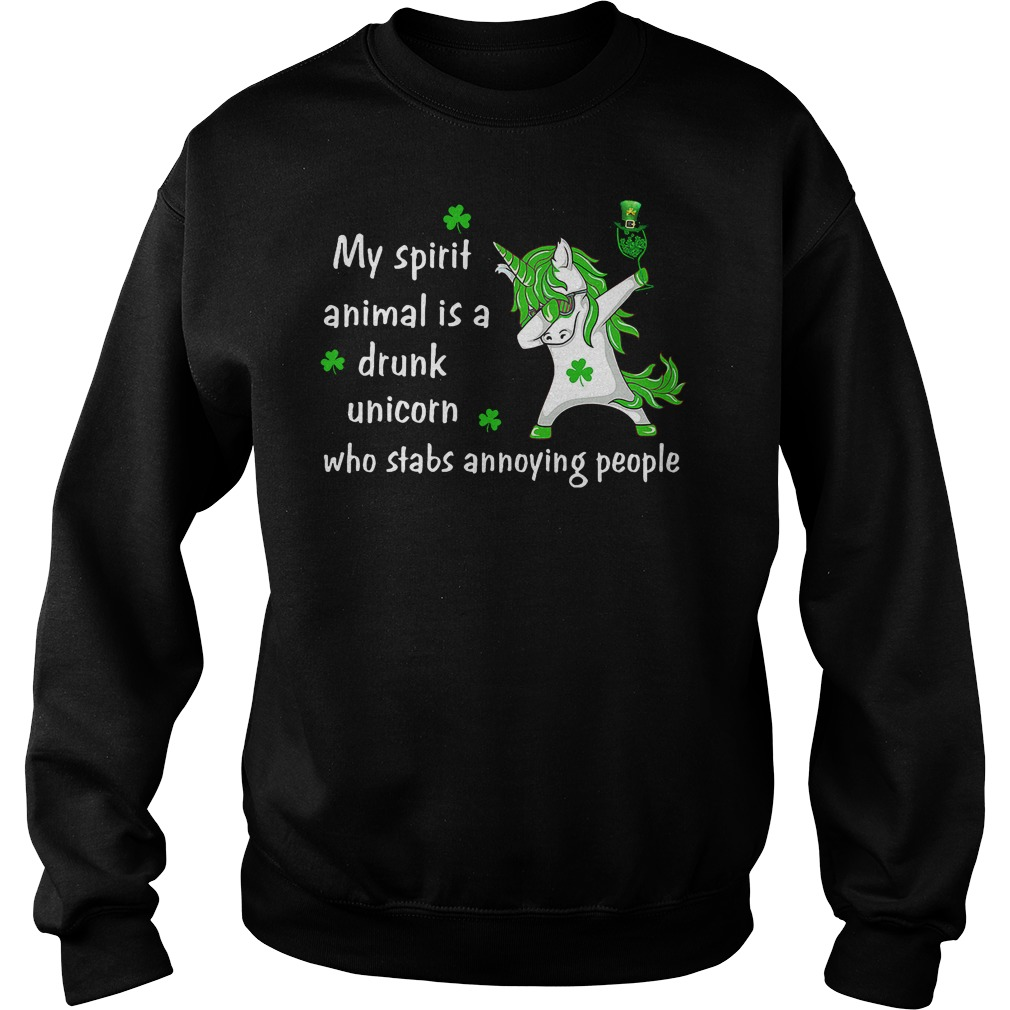 Patrick Unicorn my spirit animal is a drunk unicorn who stabs annoying people shirt