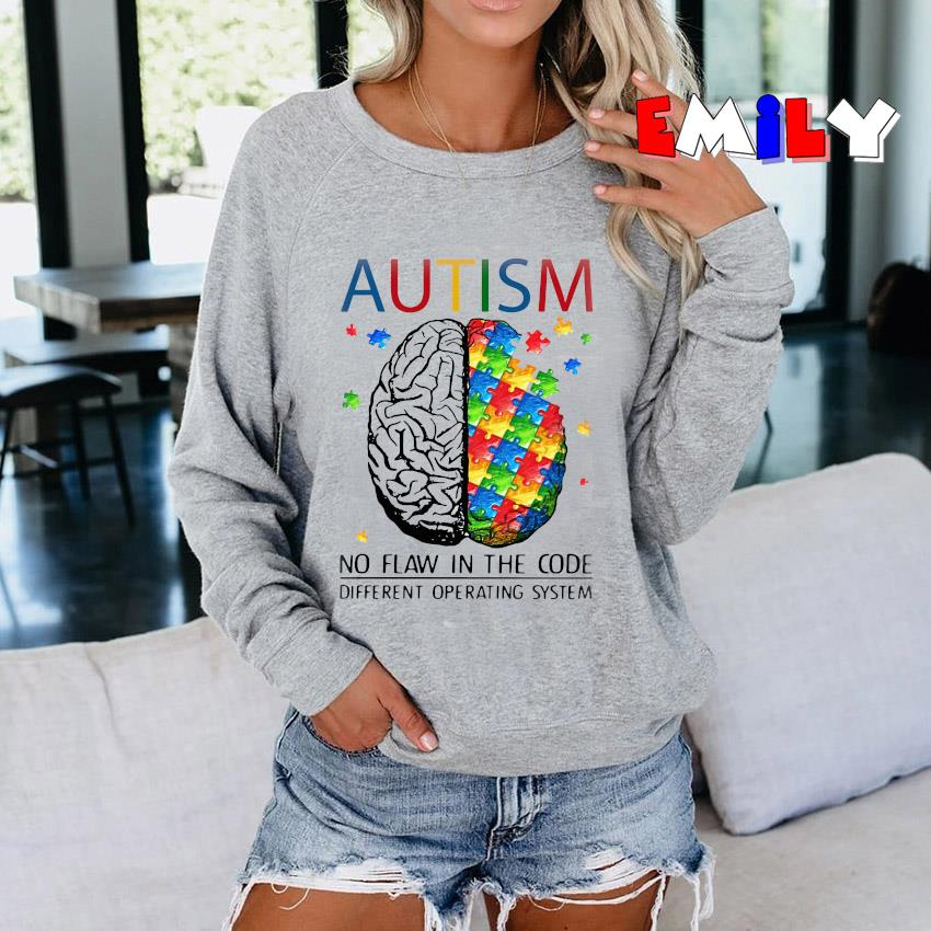 Puzzle brain autism no flaw in the code different operating system Sweatshirt