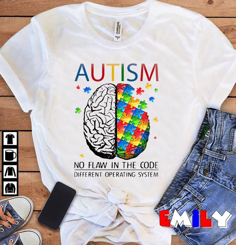 Puzzle brain autism no flaw in the code different operating system unisex t-shirt