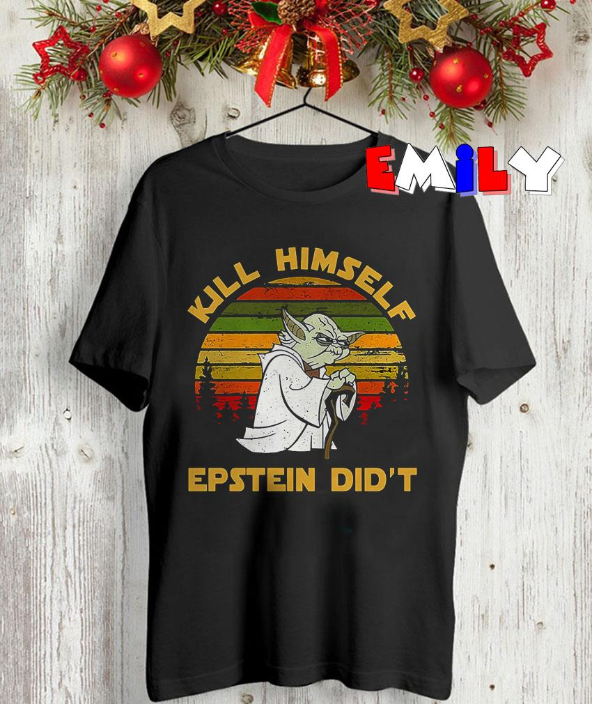 Santa yoda kill himself epstein didt vintage Starwars shirt