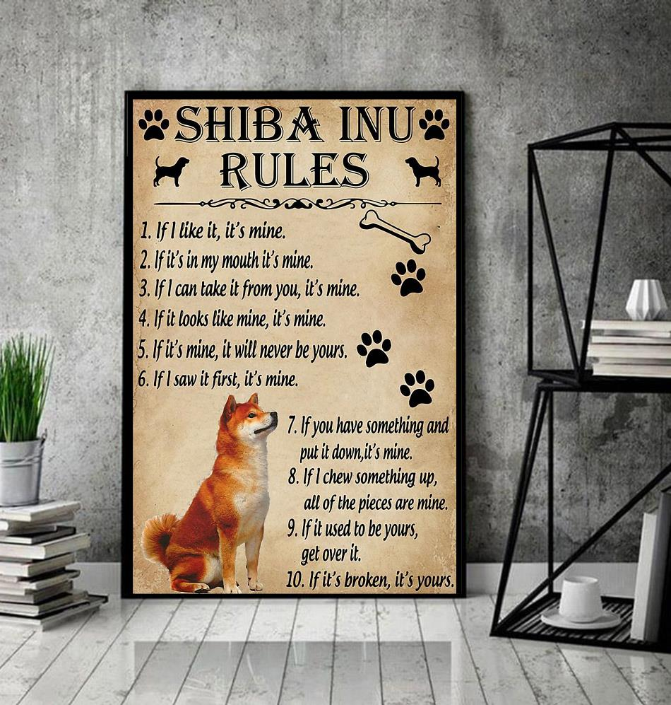 Shiba Inu rules poster canvas decor