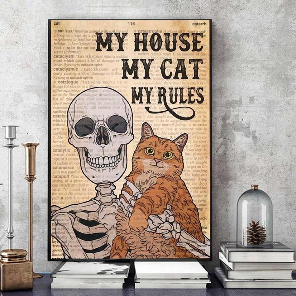 Skeleton Cat my house my cat my rules canvas art