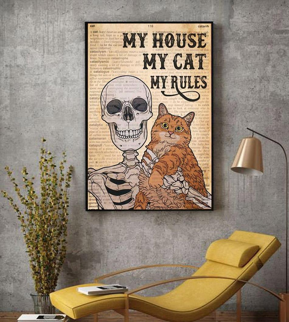 Skeleton Cat my house my cat my rules canvas decor