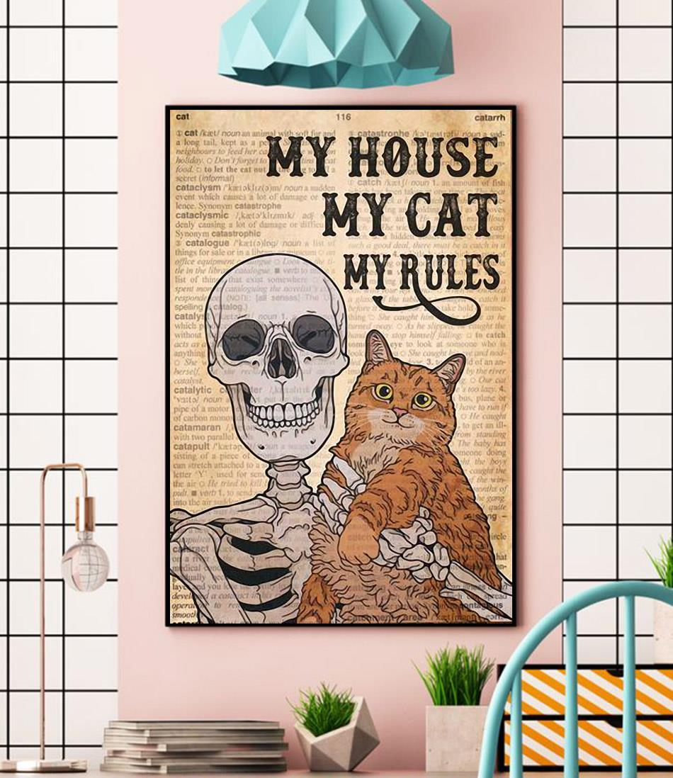 Skeleton Cat my house my cat my rules canvas wall