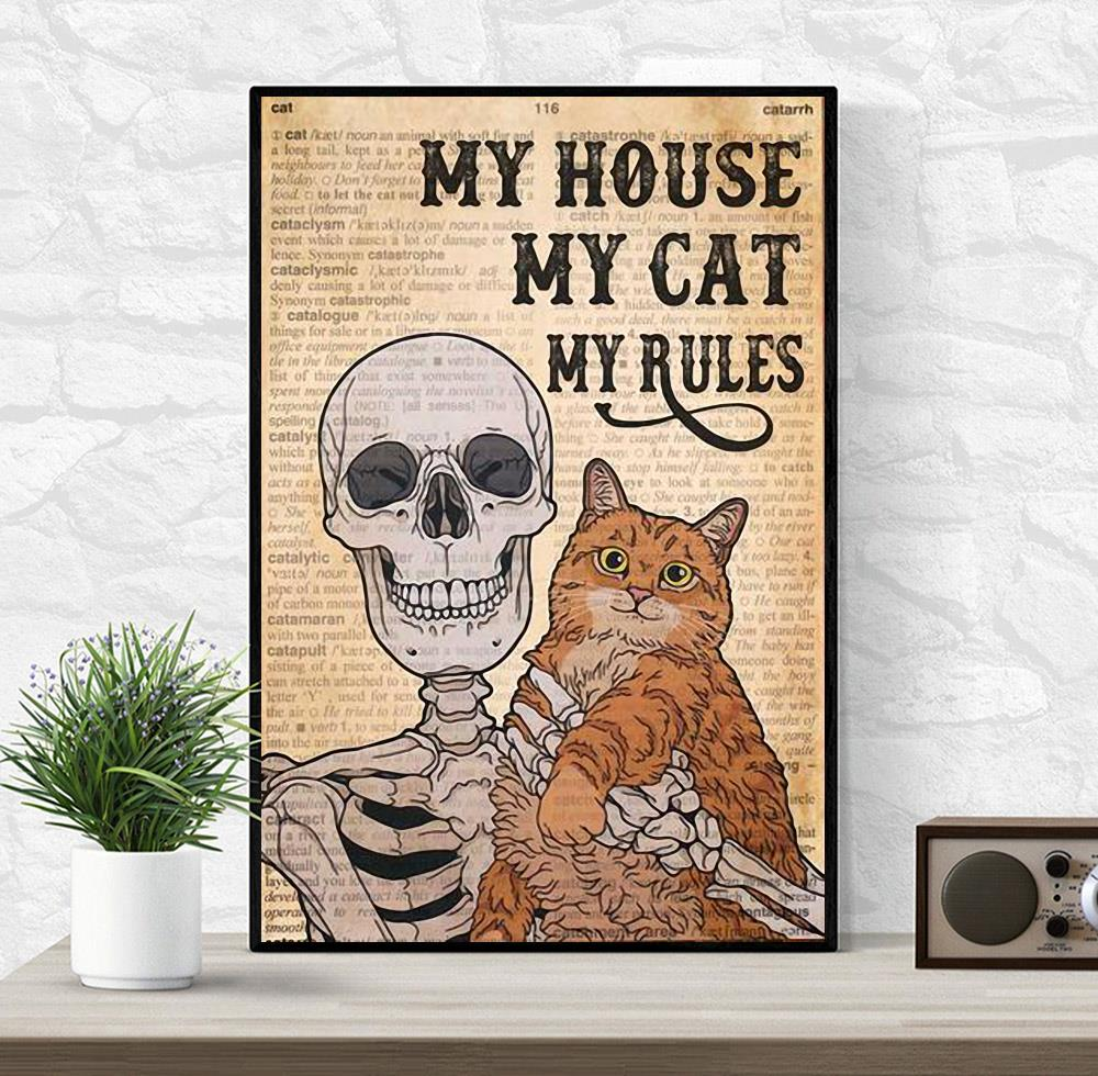 Skeleton Cat my house my cat my rules canvas