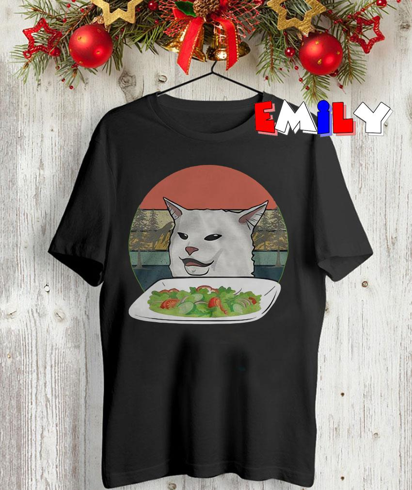 Smudge diner cat from Woman Yelling retro t-shirt