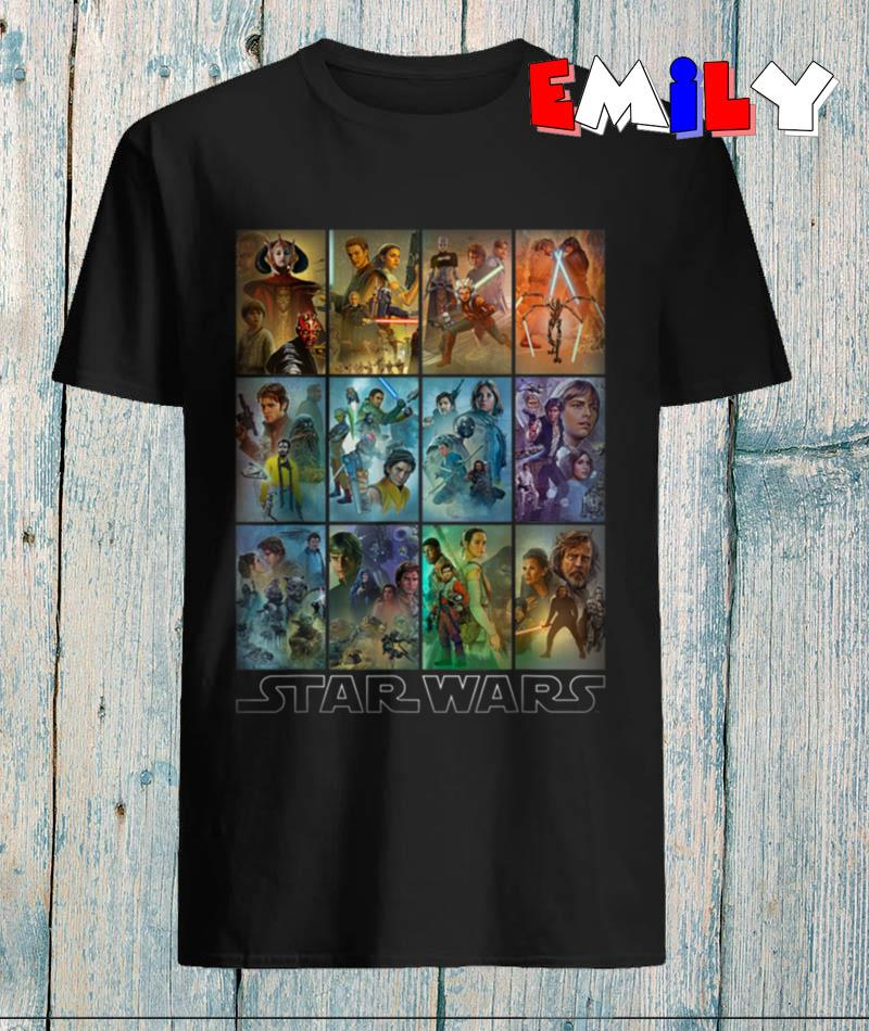 Star Wars celebration all movies mural art panels t-shirt