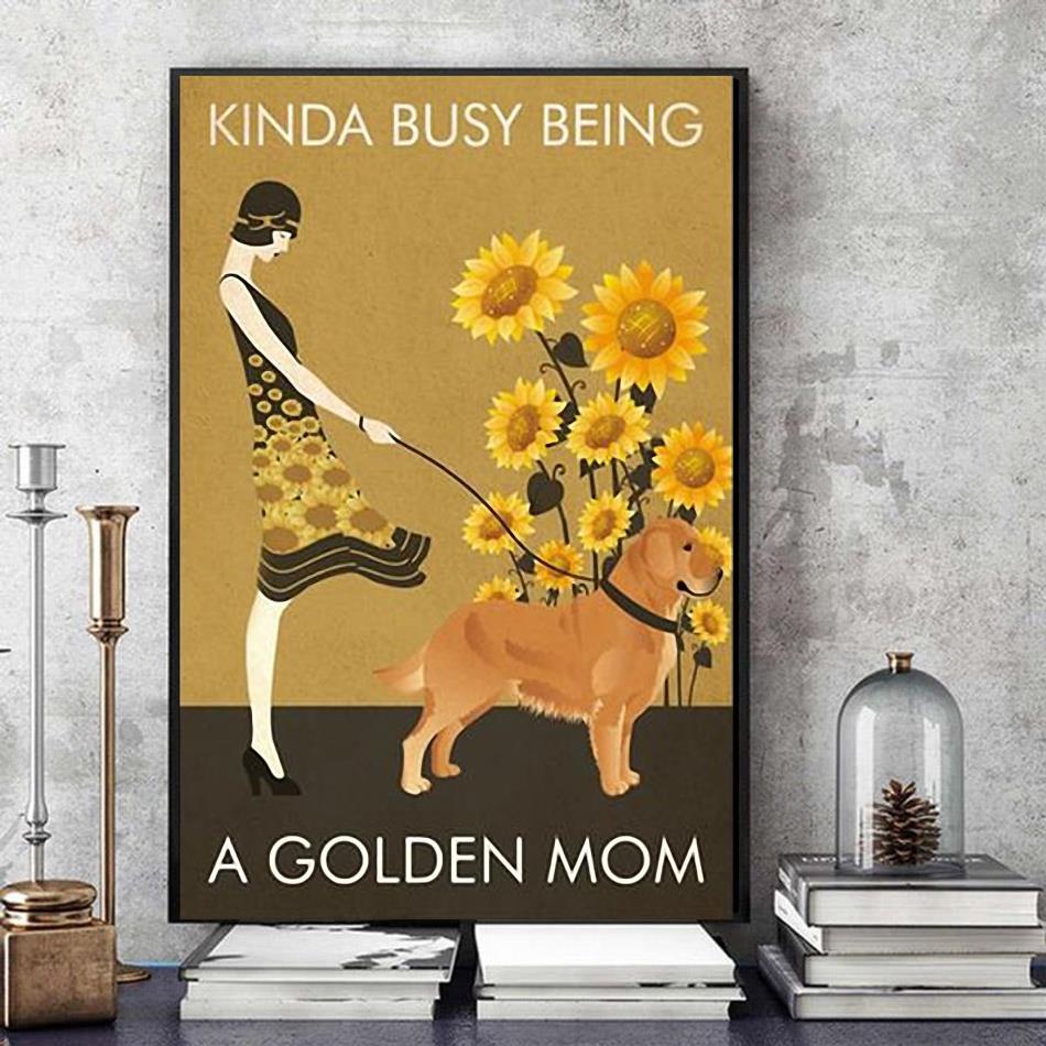 Sunflower girl kinda busy being pug mom poster canvas