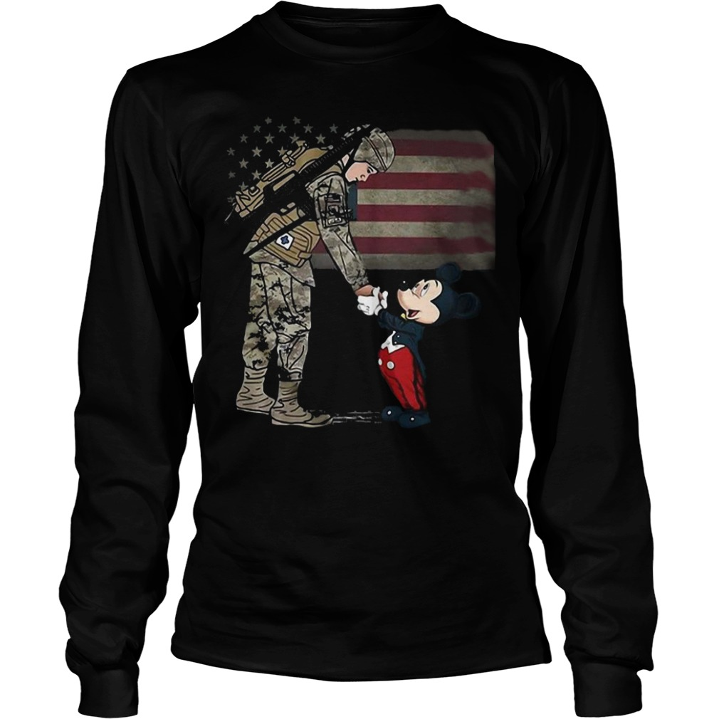 The American soldier shake Mickey mouse's hand shirt