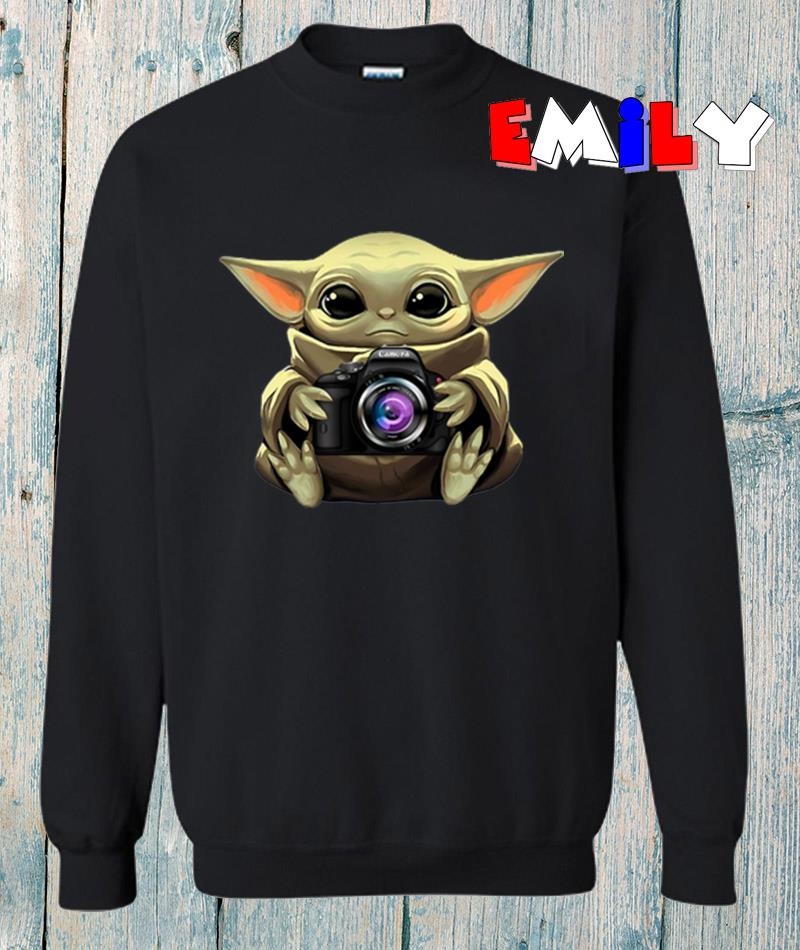 The Madanlorian Baby Yoda hug camera sweatshirt
