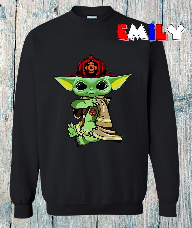 The Mandalorian Baby Yoda fireman tattoo sweatshirt