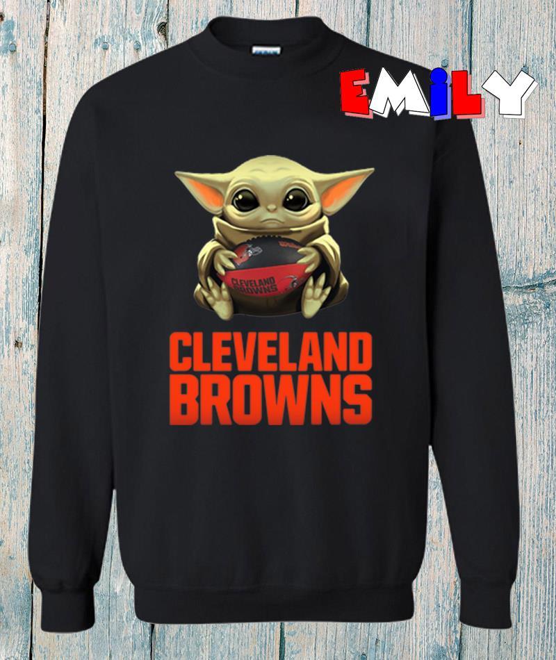 The Mandalorian Baby Yoda hug Cleveland Browns sweatshirt
