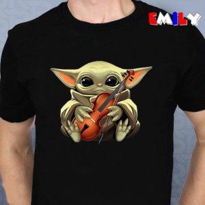 The Mandalorian Baby Yoda hug violin unisex t-shirt