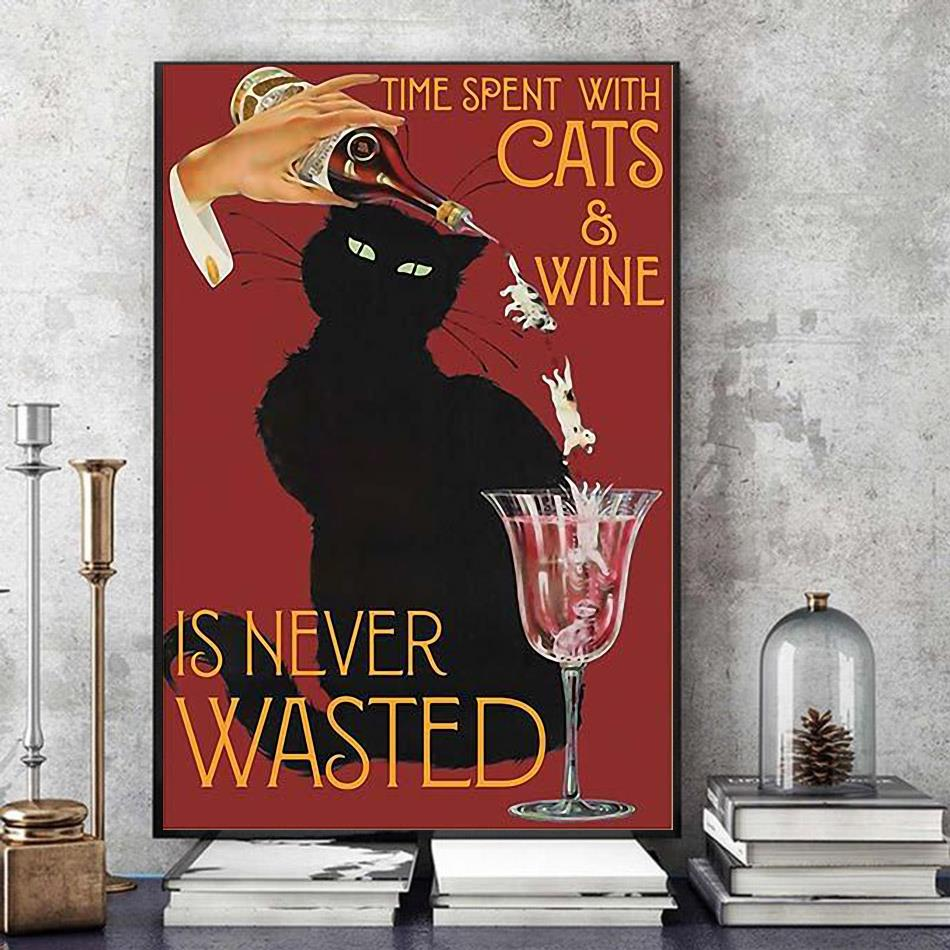 Time spend with cats and wine is never wasted vintage poster art