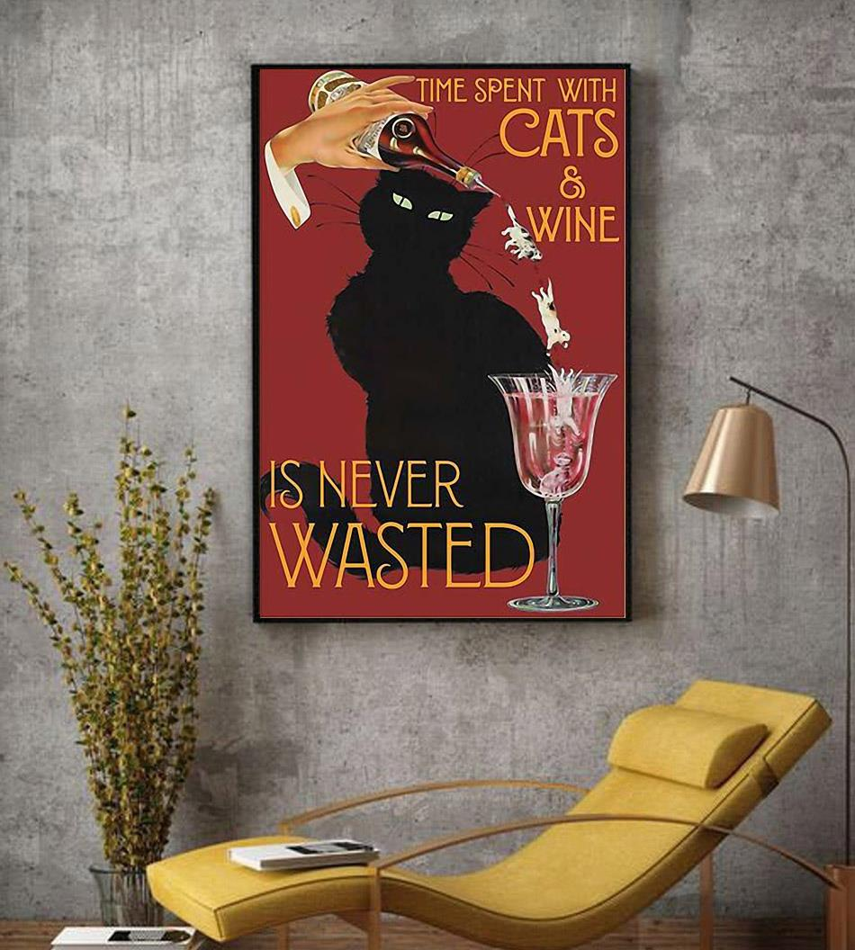 Time spend with cats and wine is never wasted vintage poster decor