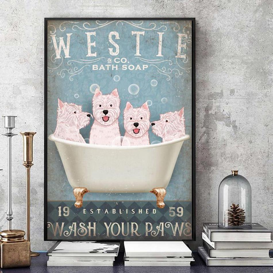 Westie co bath soap wash your paws poster