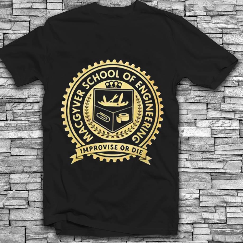 Yellow Macgyver school of engineering improvise or die t-shirt